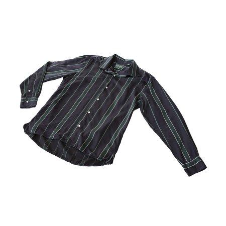 Gitman Bros. Satin Regimental Stripe Long Sleeve Camp Shirt - Green/Navy