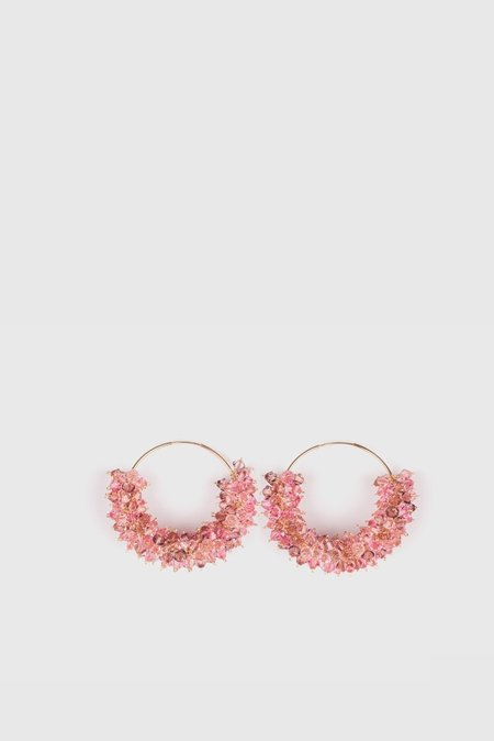 Bluemly Queen Bee Gold Hoop Earrings - Mixed Pink Bon Bon