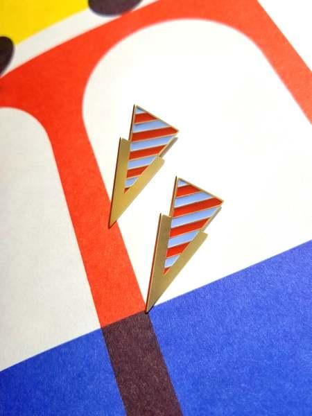 Matter Matters Striped Tri Earrings - Blue/Beige