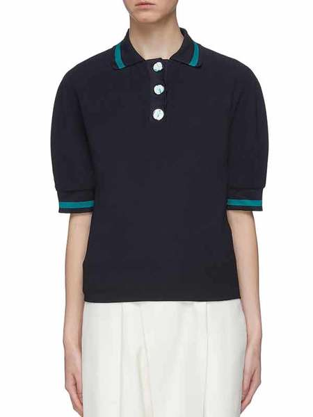 Victoria Beckham KNIT COLLAR TOP - MIDNIGHT