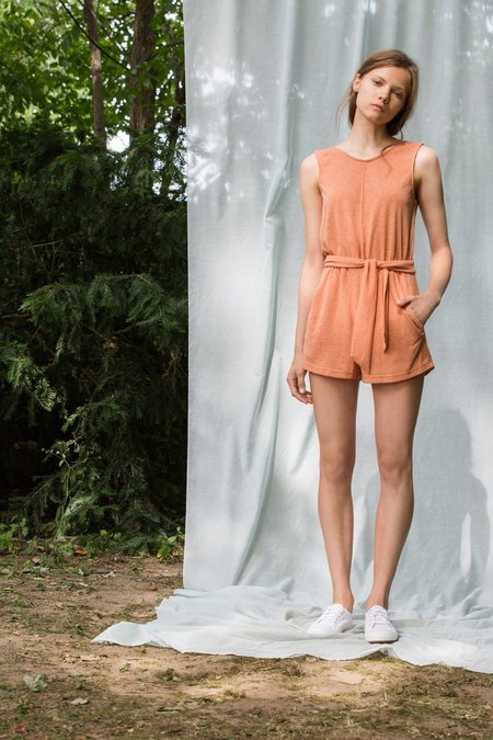 Eve Gravel Andalusia Romper - Pamplemousse