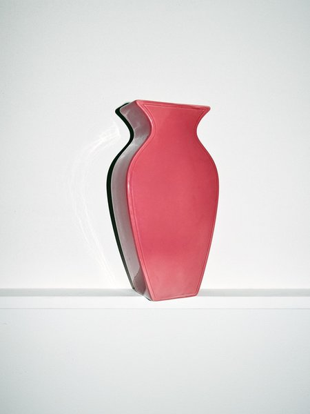 Vintage NOONS Pink Haeger Flat Vase