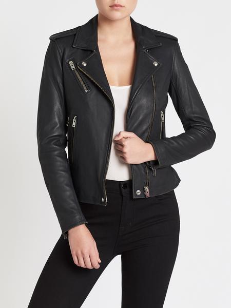 IRO Newhan Leather Jacket - Slate Grey
