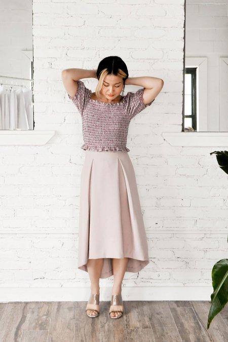 KAAREM Piece of Ring Pleated Midi Skirt - Cream
