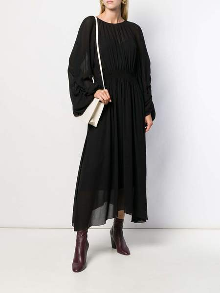 Rochas Abito Petrolioc Ruched Long Sleeve Dress w/ Cinched Waist - Black