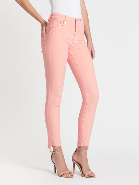 Mother Denim The Looker Ankle Step Fray Jean - pink
