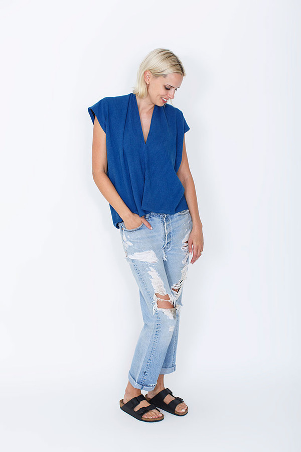 Miranda Bennett Indigo Everyday Top, Double Gauze