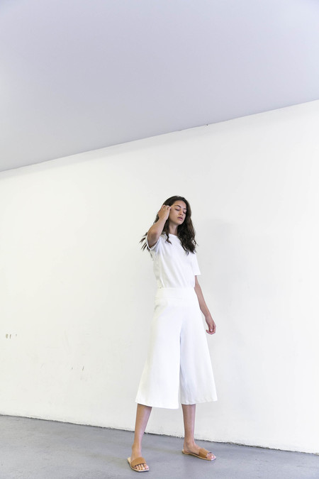 DELFINA BALDA BASIC COLOR PANTS - OFF WHITE