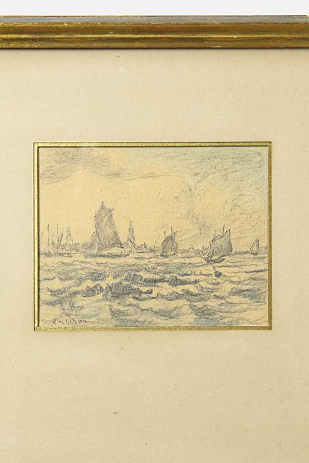 House of St. Clair VINTAGE SEASCAPE WITH SAILING VESSELS