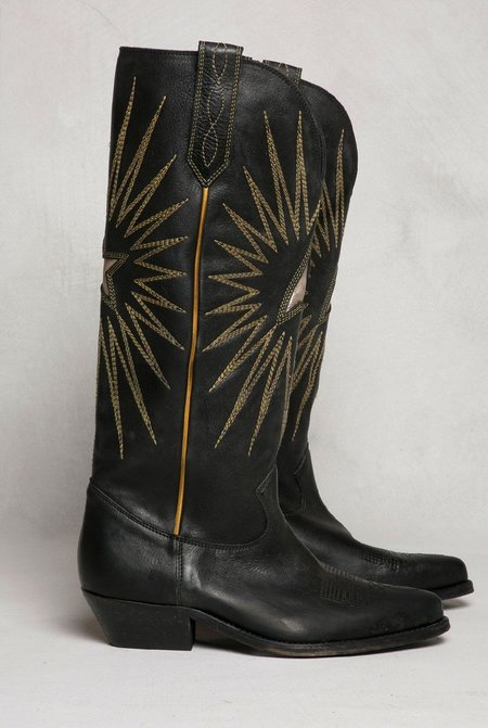 Golden Goose Wish Star Shiny Leather Boot - Black