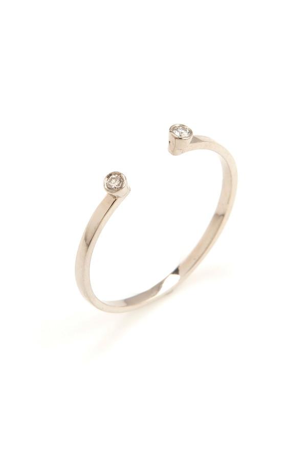 Gabriela Artigas 14k Gold Band and Double White Diamond Ring