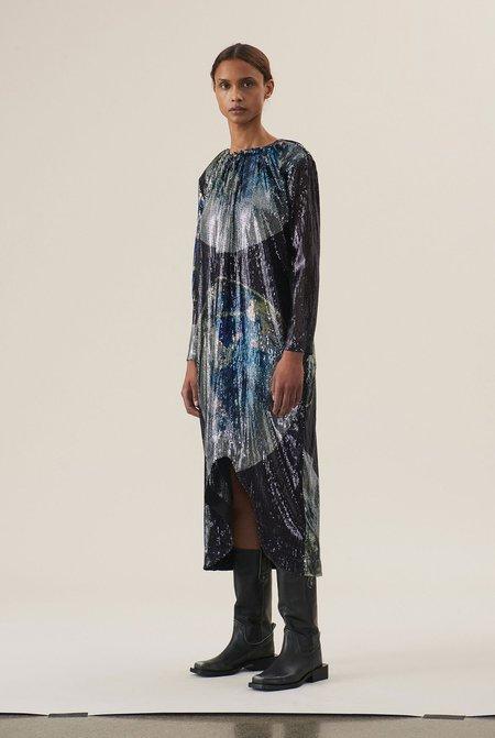 Ganni Sequin Mesh Dress - blue