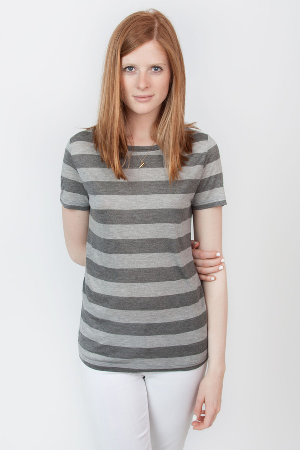 The Lady & the Sailor Grey Stripe Jersey Tee