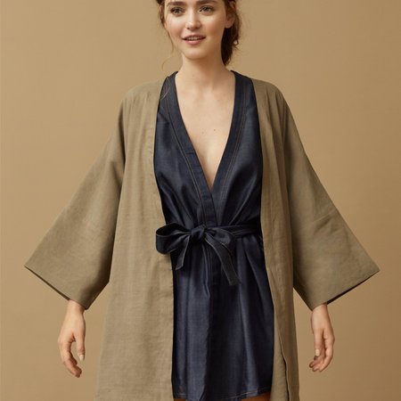 claudia nabholz Kimono Denim Jacket Tencel