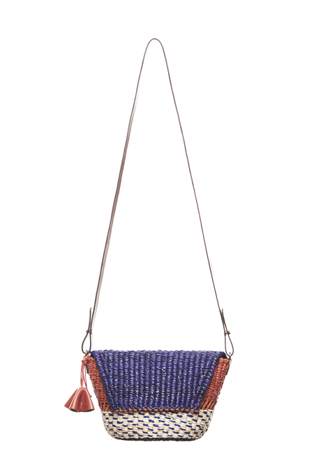 AAKS PELKA Clutch Bag - Natural/Orange/Navy