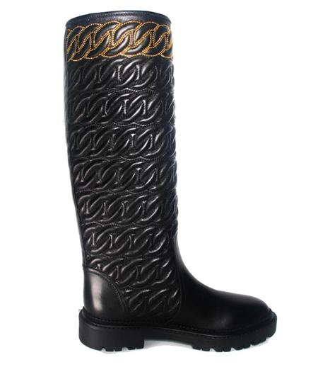 Casadei Black Mid Calf Boot W/ Embossed Chain - black