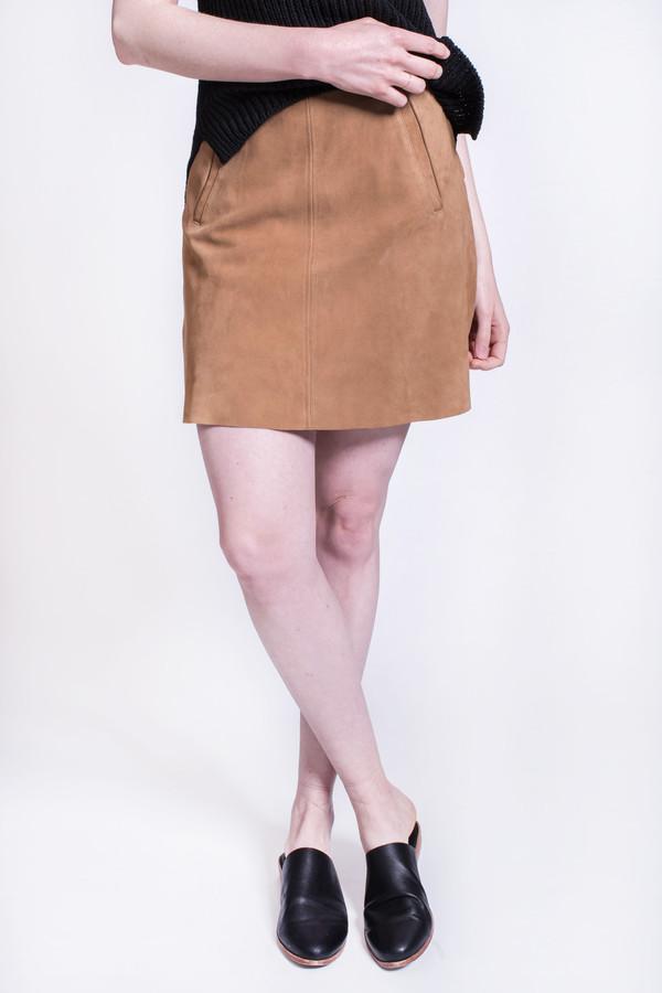 Wood Wood Sidney Skirt Light Brown Suede