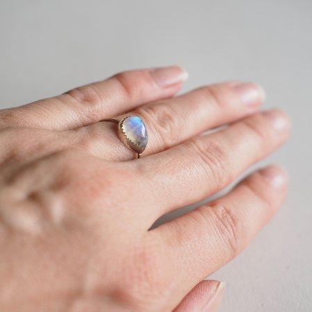 Fireborn Jewelry Sideways Teardrop Moonstone Ring - Brass Band