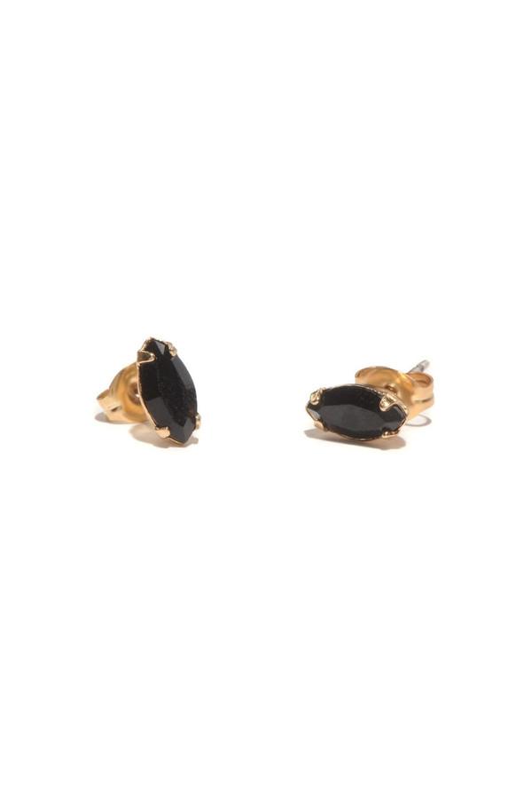 Bing Bang NYC Tiny Marquis Studs Jet Black Crystal