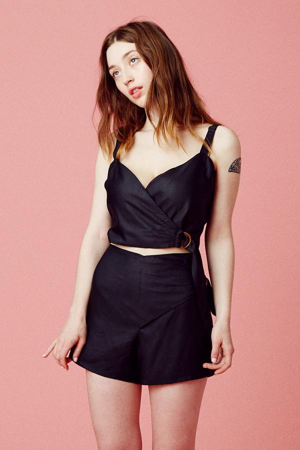 Samantha Pleet Curtain Blouse - Black