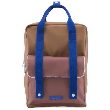 Kids sticky lemon large deluxe envelope backpack - brown/brick/blue