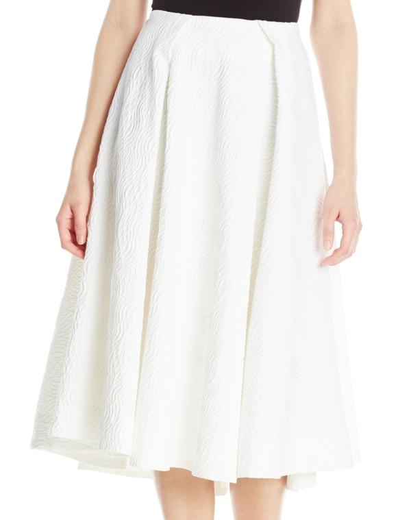 Vincetta White Embossed Circle Skirt