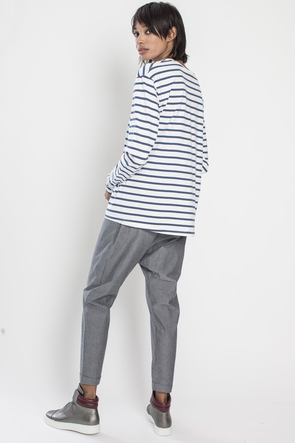 KOWTOW Building Block Boyfriend Top in Blue/White Stripes