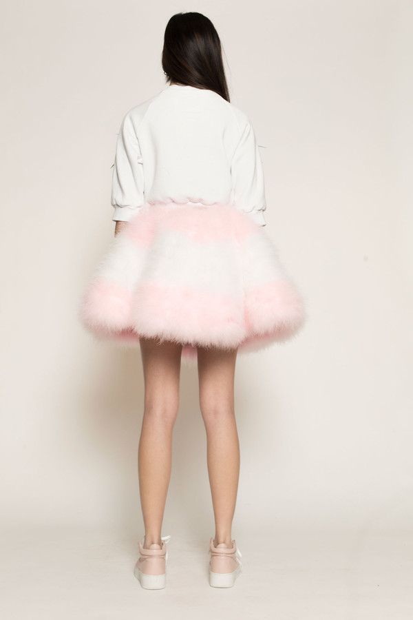 Maryme-Jimmypaul Feather Circle Skirt in Pink/White