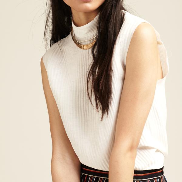 Nikki Chasin Ari Silk Linen Mock Neck