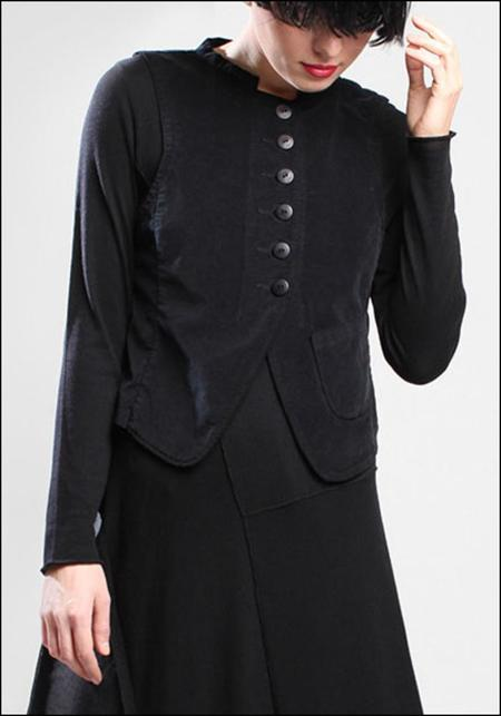 Lurdes Bergada Velvet Button-down Vest - Black