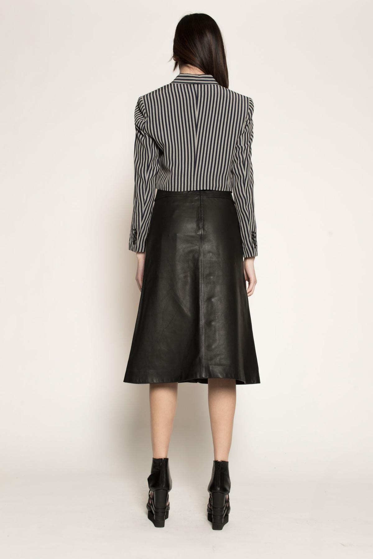 dzojchen mid length high waisted leather skirt in black