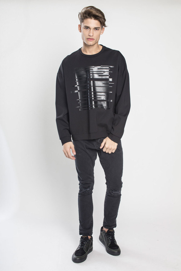 Men's Kenneth Ning Oversized Plastisol Print Sweatshirt in Black
