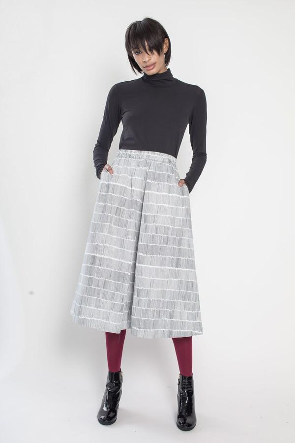 Kowtow Studio Skirt in Black Dashes on White