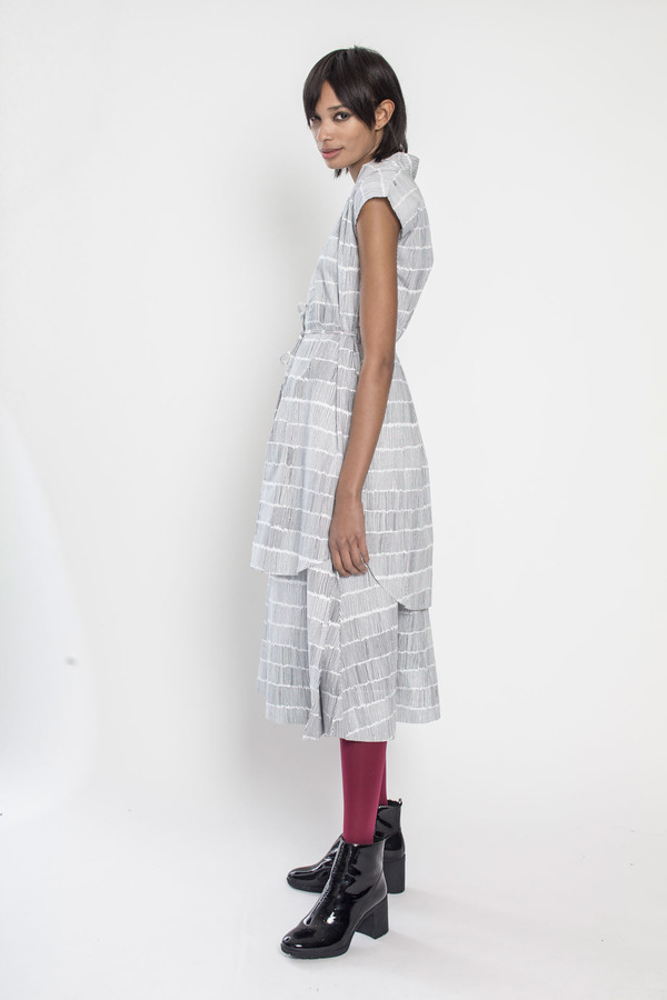 Trace Dress in Dashes/White