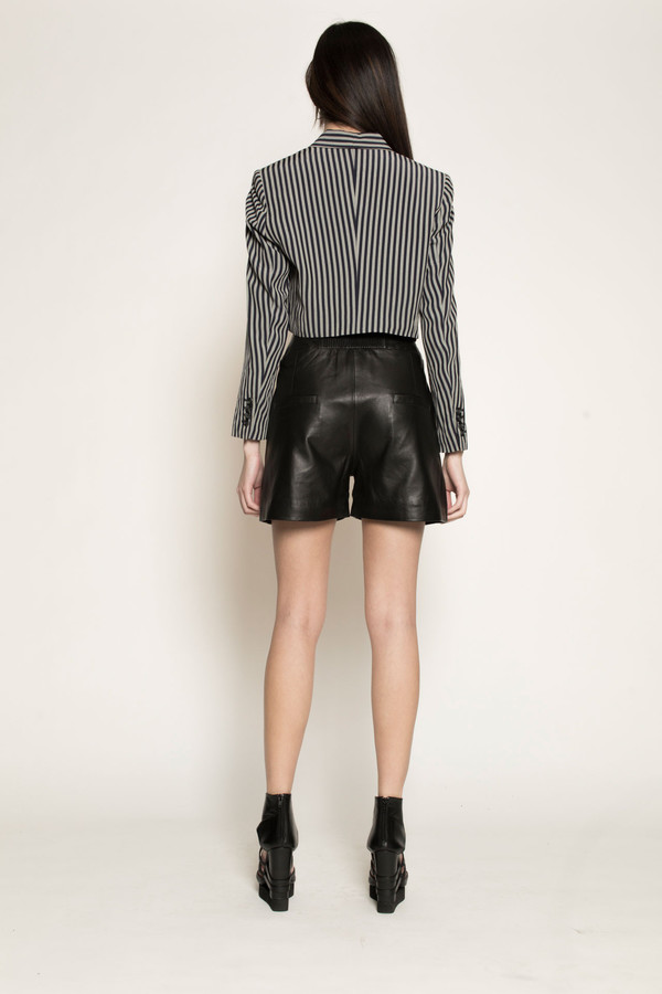Dzojchen Tux Lapel Cropped Tailored Blazer in Navy/Grey Stripe