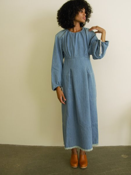 Happy Haus Boheme Denim Dress - Light Blue