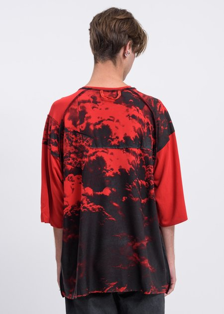 Black Lux Clouds Oversized T-Shirt - Red/Black