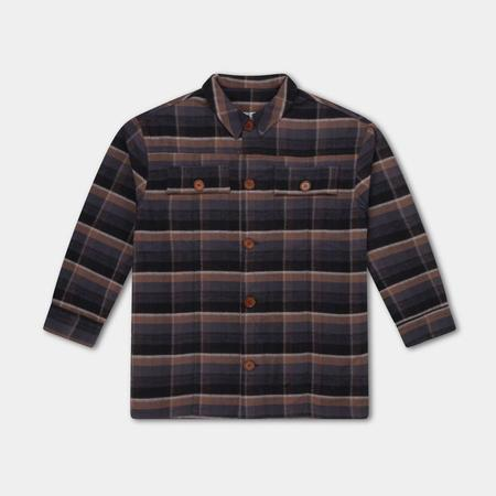 KIDS Repose AMS Buttondown Flannel Shirt - Inky Brown Check