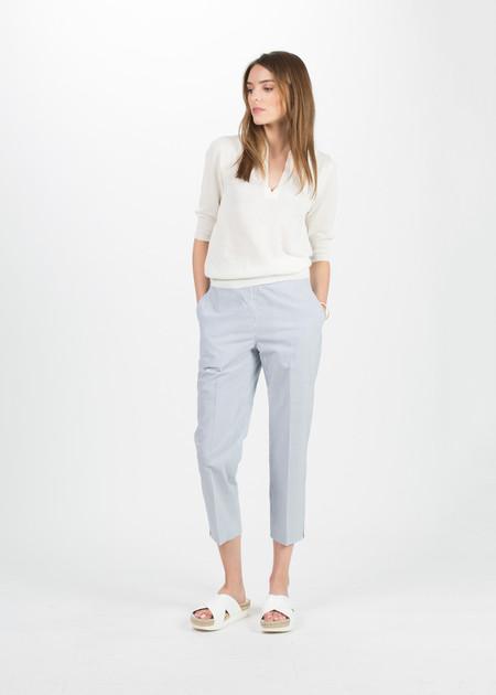 Margaret Howell High Waisted Crop Trouser - Seersucker Blue/White