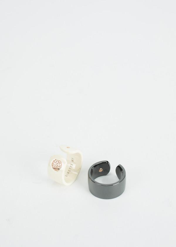 Ginette NY Ivory Ceramic Monogram Open Ring