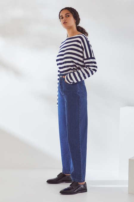 Kowtow Linear Jean in Mid Blue Denim