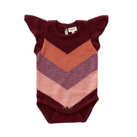 kids Oeuf Chevron Knit Onesie - red