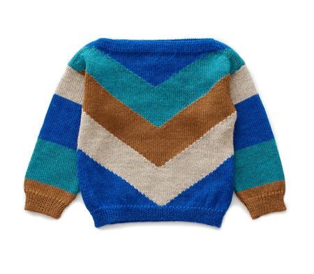 kids Oeuf Chevron Knit Sweater - blue