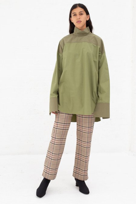 Nomia Oversize Mockneck Shirt - Bottle Green/Khaki