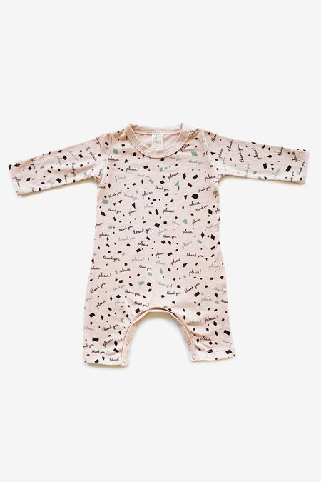 Kids North Of West Please & Thank You Organic Jumpsuit - Dusty Rose/Charcoal