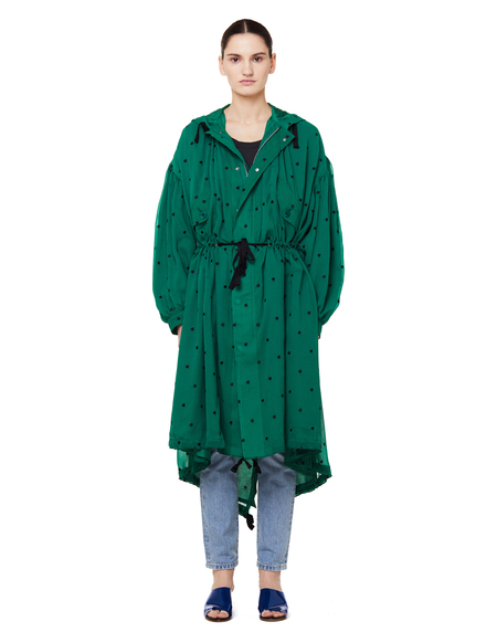 Undercover Heart Embroidered Parka Coat - Green