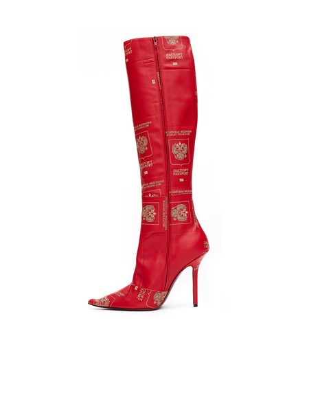 Vetements Passport-printed Leather Boots