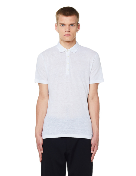 120% Lino Linen Polo T-Shirt - White