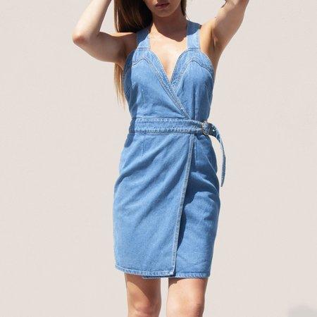 Nanushka Giza Western Wrap Mini Dress - Denim
