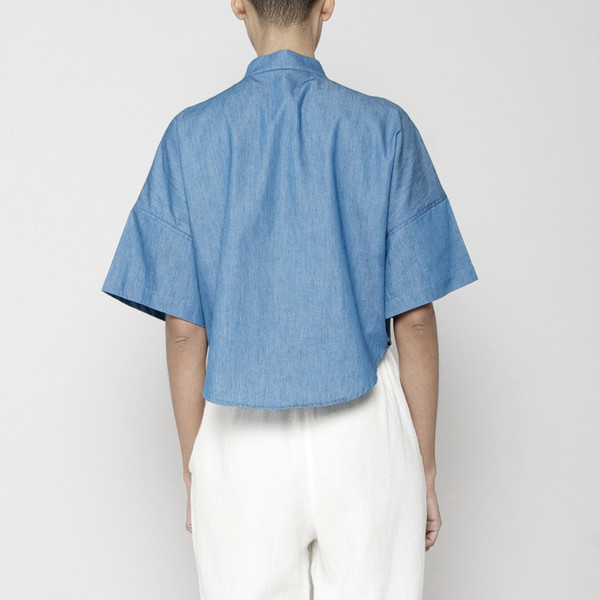 7115 by Szeki Pocket Cropped Shirt- Indigo SS16